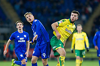 Danny Ward of Cardiff City and Grant Hanley of Norwich City during the Sky Bet Championship match between Cardiff City and Norwich City at the Cardiff City Stadium, Cardiff, Wales on 1 December 2017. Photo by Mark  Hawkins / PRiME Media Images.