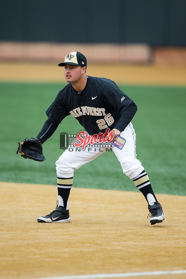 Wake Forest Demon Deacons first baseman Aaron Smith (26) on defense against the Towson Tigers at Wake Forest Baseball Park on March 1, 2015 in Winston-Salem, North Carolina.  The Demon Deacons defeated the Tigers 15-8.  (Brian Westerholt/Sports On Film)