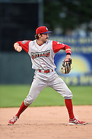 Williamsport Crosscutters third baseman Derek Campbell (9) throws to first during the second game of a doubleheader against the Batavia Muckdogs on July 29, 2014 at Dwyer Stadium in Batavia, New York.  Batavia defeated Williamsport 1-0 in 11 innings.  (Mike Janes/Four Seam Images)