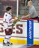 Austin Cangelosi (BC - 9), John Hegarty (BC - Director-HockeyOps) - The visiting University of Vermont Catamounts tied the Boston College Eagles 2-2 on Saturday, February 18, 2017, Boston College's senior night at Kelley Rink in Conte Forum in Chestnut Hill, Massachusetts.Vermont and BC tied 2-2 on Saturday, February 18, 2017, Boston College's senior night at Kelley Rink in Conte Forum in Chestnut Hill, Massachusetts.