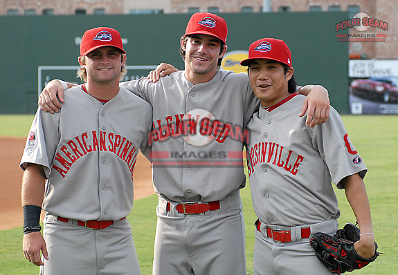 Greenville Drive players Drew Dominguez (3), Drew Hedman (47)  and James Kang (2) show off their throwback jerseys on Mill League Night on July 31, 2011, before a game against the Charleston RiverDogs. The Drive celebrated the heritage of the Upstate textile league teams with Mill League Night at Fluor Field at the West End. The throwback jerseys were auctioned off after the game. (Tom Priddy/Four Seam Images)