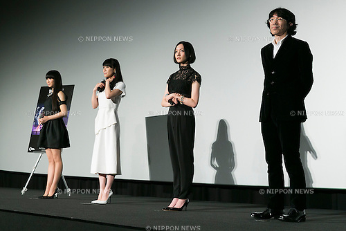 (L to R) Members of the Japanese pop girl group Perfume Kashiyuka, A-chan, Nocchi and director Taketoshi Sado attend a stage greeting for the movie ''WE ARE Perfume WORLD TOUR 3rd DOCUMENT'' at TOHO CINEMAS in Roppongi on October 24, 2015, Tokyo, Japan. Perfume's movie will be released in Japanese theaters on October 31. The screening is part of the 28th Tokyo International Film Festival which is one of the biggest film festivals in Asia and runs from October 22 to Saturday 31. (Photo by Rodrigo Reyes Marin/AFLO)