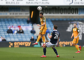 17th March 2019, The Den, London, England; The Emirates FA Cup, quarter final, Millwall versus Brighton and Hove Albion; Martín Montoya of Brighton & Hove Albion heads the ball over Ryan Leonard of Millwall