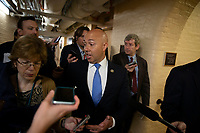 Representative Brian Mast, Republican of Florida, talks to reporters following a meeting of United States House of Representatives Republican members in the basement of the United States Capitol Building on June 7, 2018 in Washington, DC. The Republican members are discussing immigration policy changes. <br /> CAP/MPI/RS<br /> &copy;RS/MPI/Capital Pictures