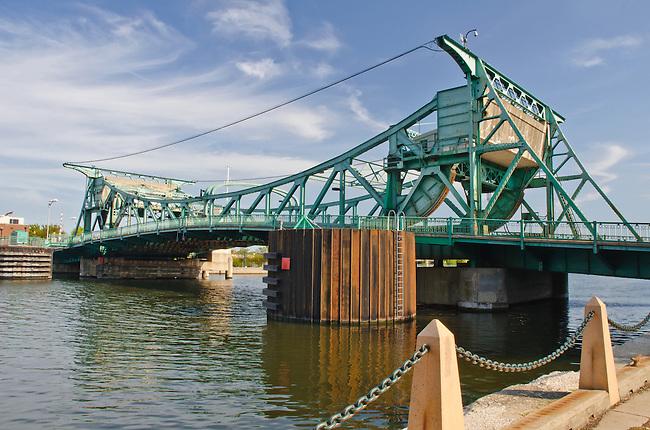 The Jefferson Street Bridge crosses the DesPlaines River in Joliet, Illinois