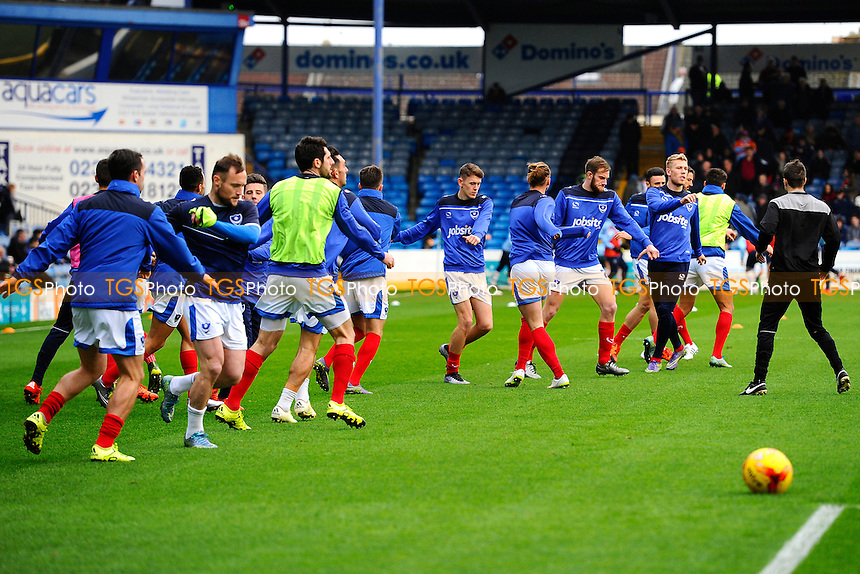 Portsmouth players warm up  during Portsmouth vs Luton Town, Sky Bet League 2 Football at Fratton Park, Portsmouth, England on 28/12/2015
