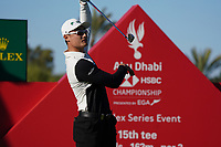 Haotong Li (CHN) on the 15th during the 1st round of the Abu Dhabi HSBC Championship, Abu Dhabi Golf Club, Abu Dhabi,  United Arab Emirates. 16/01/2020<br /> Picture: Fran Caffrey | Golffile<br /> <br /> <br /> All photo usage must carry mandatory copyright credit (© Golffile | Fran Caffrey)