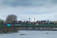 Hammersmith. London. United Kingdom,  Spectators on Hammersmith Bridge, 2018 Men's Head of the River Race.  Championship Course, Putney to Mortlake. River Thames, <br /> <br /> Sunday   11/03/2018<br /> <br /> [Mandatory Credit:Peter SPURRIER Intersport Images]<br /> <br /> Leica Camera AG  M9 Digital Camera  1/500 sec. 50 mm f. 160 ISO.  17.5MB