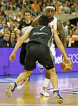 USA's LeBron James (f) and Argentina's Facundo Campazzo during friendly match.July 22,2012. (ALTERPHOTOS/Acero)