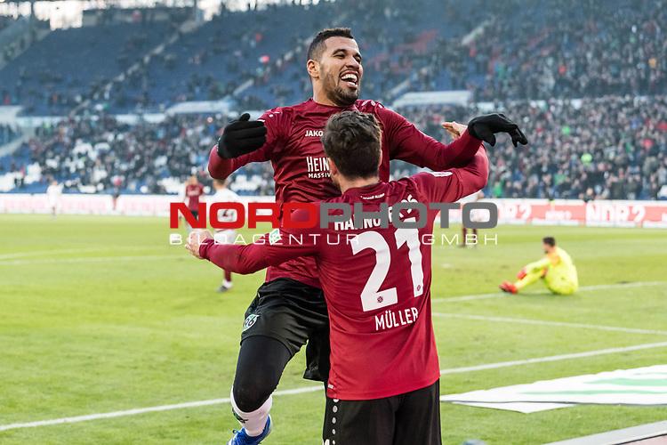 09.02.2019, HDI Arena, Hannover, GER, 1.FBL, Hannover 96 vs 1. FC Nuernberg<br /> <br /> DFL REGULATIONS PROHIBIT ANY USE OF PHOTOGRAPHS AS IMAGE SEQUENCES AND/OR QUASI-VIDEO.<br /> <br /> im Bild / picture shows<br /> Jubel 2:0, Nicolai Müller / Mueller (Neuzugang Hannover 96 #21) bejubelt seinen zweiten Treffer im Spiel mit Jonathas De Jesus (Hannover 96 #09), <br /> <br /> Foto © nordphoto / Ewert
