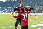 09.02.2019, HDI Arena, Hannover, GER, 1.FBL, Hannover 96 vs 1. FC Nuernberg<br /> <br /> DFL REGULATIONS PROHIBIT ANY USE OF PHOTOGRAPHS AS IMAGE SEQUENCES AND/OR QUASI-VIDEO.<br /> <br /> im Bild / picture shows<br /> Jubel 2:0, Nicolai M&uuml;ller / Mueller (Neuzugang Hannover 96 #21) bejubelt seinen zweiten Treffer im Spiel mit Jonathas De Jesus (Hannover 96 #09), <br /> <br /> Foto &copy; nordphoto / Ewert