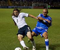 Frankie Hejduk (2) battles for the ball against Carlos Ayala (16) during FIFA World Cup qualifier against El Salvador. USA tied El Salvador 2-2 at Estadio Cuscatlán Stadium in El Salvador on March 28, 2009.