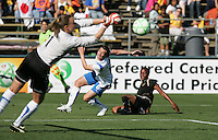 Kristin Luckenbill (1) saves the ball after the shot by Kandace Wilson (right) defended by Amy LePeilbet (6). FC Gold Pride defeated the Boston Breakers 2-1 at Buck Shaw Stadium in Santa Clara, California on April 5th, 2009. Photo by Kelley Cox /isiphotos.com