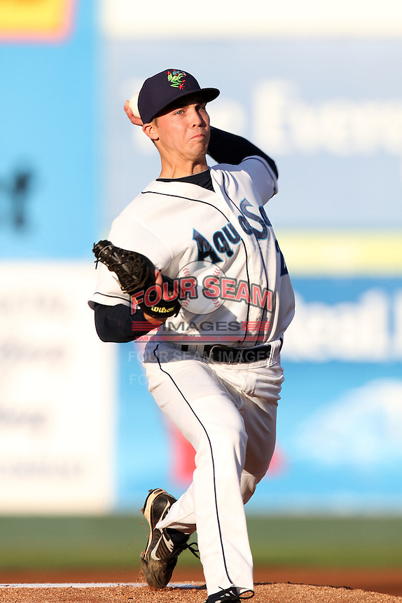Everett Aquasox pitcher Jordan Shipers #2 pitches against the Tri-City Dust Devils at Everett Memorial Stadium on August 12, 2011 in Everett,Washington. Tri-City defeated Everett 8-5.(Larry Goren/Four Seam Images)