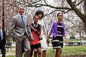 United States President Barack Obama, daughter Sasha, First Lady Michelle Obama and daughter Malia walk from the White House across Lafayette Park on their way to church at St John's Episcopal Church  in Washington, Sunday, March 31, 2013. .Credit: Drew Angerer / Pool via CNP