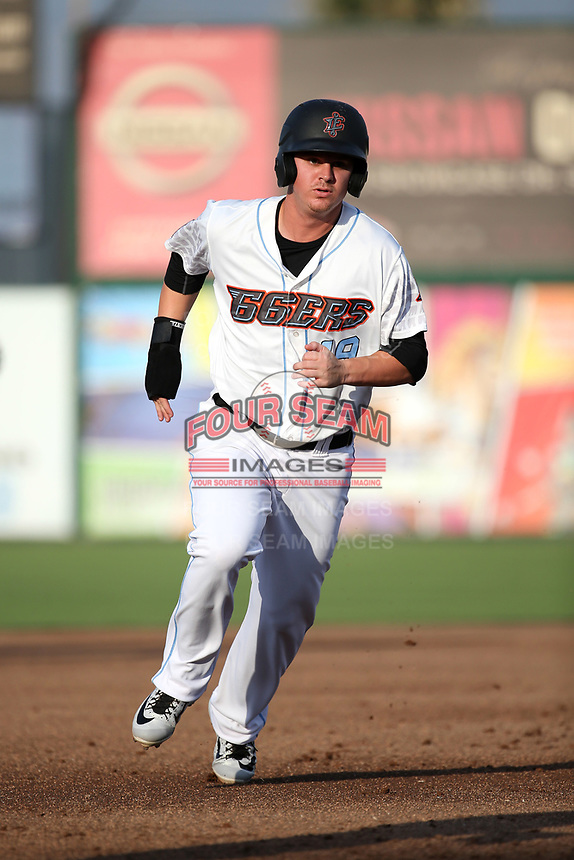 Brendon Sanger (19) of the Inland Empire 66ers runs the bases during a game against the Rancho Cucamonga Quakes at San Manuel Stadium on July 9, 2017 in San Bernardino, California. Inland Empire defeated Rancho Cucamonga 12-2. (Larry Goren/Four Seam Images)