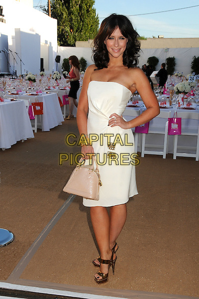 Jennifer Love Hewitt.Project Angel Food Presents the 2011 Angel Awards held at Project Angel Food, Los Angeles, California, USA, 20th August 2011.full length dress hand on hip gold sandals beige patent nude bag strapless white  Louis Vuitton .CAP/ADM/BP.©Byron Purvis/AdMedia/Capital Pictures.
