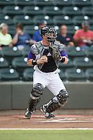 Winston-Salem Dash catcher Zack Collins (30) on defense against the Potomac Nationals at BB&T Ballpark on July 15, 2016 in Winston-Salem, North Carolina.  (Brian Westerholt/Four Seam Images)
