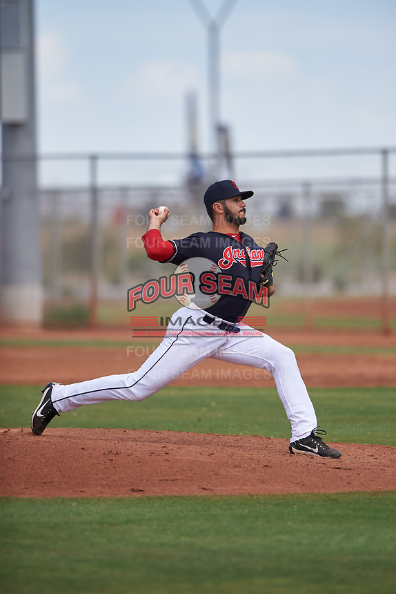 AZL Indians Blue relief pitcher Nate Ocker (69) during an Arizona League game against the AZL Indians Red on July 7, 2019 at the Cleveland Indians Spring Training Complex in Goodyear, Arizona. The AZL Indians Blue defeated the AZL Indians Red 5-4. (Zachary Lucy/Four Seam Images)