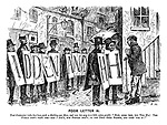 """Poor Letter H. Tout contractor (who has been paid a shilling per man and sees his way to a little extra profit). """"Now look 'ere, you two H's! The public don't want yer -- nor I don't, nor nobody don't; so just drop them boards, and then 'ook it!"""""""