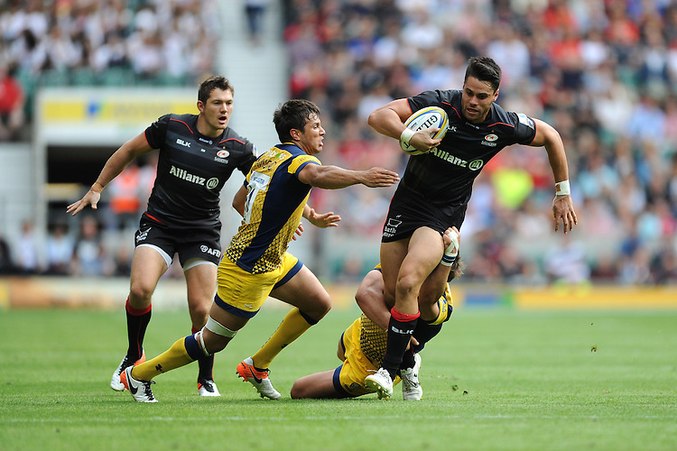 Sean Maitland of Saracens in action during the Aviva Premiership Rugby match between Saracens and Worcester Warriors at Twickenham Stadium on Saturday 03 September 2016 (Photo by Rob Munro/Stewart Communications)