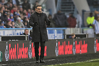 Swansea manager Carlos Carvalhal asks his players to calm down during the Premier League match between Huddersfield Town and Swansea City and at the John Smith's Stadium Huddersfield, England, UK. Saturday 10 March 2018