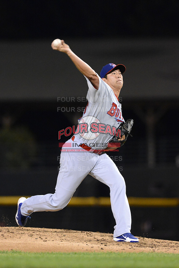 Buffalo Bisons pitcher Chein-Ming Wang (50) during a game against the Rochester Red Wings on August 30, 2013 at Frontier Field in Rochester, New York.  Buffalo defeated Rochester 6-3.  (Mike Janes/Four Seam Images)