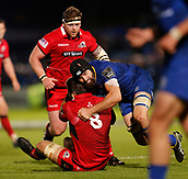 29th September 2017, RDS Arena, Dublin, Ireland; Guinness Pro14 Rugby, Leinster Rugby versus Edinburgh; Scott Fardy of Leinster tackles Cornell du Preez of Edinburgh