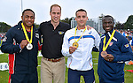 12.09.2014; London,UK: PRINCE WILLIAM<br /> poses with medal winners at the Invictus Games, Lee Valley Athletic Centre, Enfield<br /> Mandatory Credit Photo: &copy;Crown Copyright/NEWSPIX INTERNATIONAL<br /> <br /> **ALL FEES PAYABLE TO: &quot;NEWSPIX INTERNATIONAL&quot;**<br /> <br /> IMMEDIATE CONFIRMATION OF USAGE REQUIRED:<br /> Newspix International, 31 Chinnery Hill, Bishop's Stortford, ENGLAND CM23 3PS<br /> Tel:+441279 324672  ; Fax: +441279656877<br /> Mobile:  07775681153<br /> e-mail: info@newspixinternational.co.uk