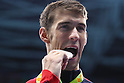 Michael Phelps (USA), <br /> AUGUST 12, 2016 - Swimming : <br /> Men's 100m Butterfly Medal Ceremony <br /> at Olympic Aquatics Stadium <br /> during the Rio 2016 Olympic Games in Rio de Janeiro, Brazil. <br /> (Photo by Yohei Osada/AFLO SPORT)