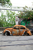BRAZIL, Rio de Janiero, a broken down car on the streets of Santa Theresa