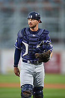 New Hampshire Fisher Cats catcher Mike Reeves (3) during a game against the Altoona Curve on May 11, 2017 at Peoples Natural Gas Field in Altoona, Pennsylvania.  Altoona defeated New Hampshire 4-3.  (Mike Janes/Four Seam Images)