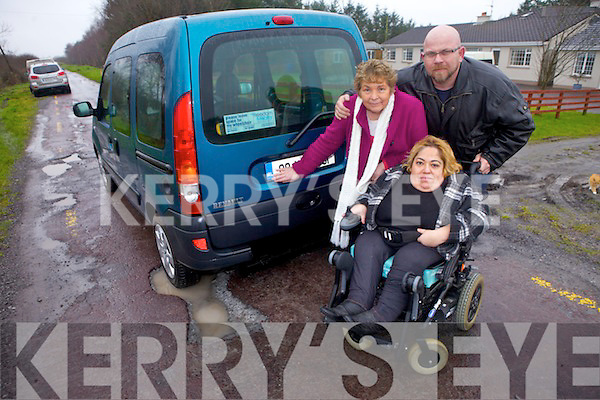 Kathleen and Margaret Nolan from Listowel, pictured with Brian Finucane (People before Profit) are extremely irritated at the state of their local road which is making life very difficult.