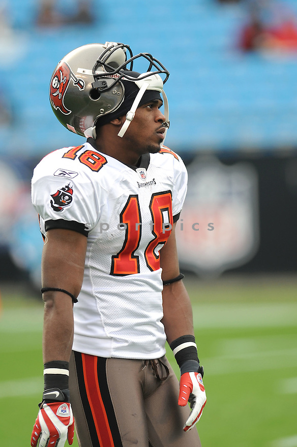 SAMMIE STROUGHTER of the Tampa Bay Buccaneers in action during the Buccaneers game against the Carolina Panthers on December 6, 2009 in Charlotte, North Carolina. Panthers won 16-6...