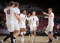 STANFORD, CA - January 5, 2019: Jordan Ewert, Jaylen Jasper, Paul Bischoff, Eric Beatty at Maples Pavilion. The Stanford Cardinal defeated UC Santa Cruz 25-11, 25-17, 25-15.