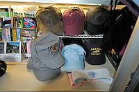 The gift shop on the Alaska Railroad's Coastal Classic train includes plenty of engineer's hats.