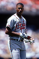 Jermaine Dye of the Atlanta Braves at Dodger Stadium in Los Angeles,California during the 1996 season. (Larry Goren/Four Seam Images)