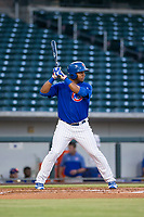 AZL Cubs right fielder Jeffrey Baez (28) bats during a game against the AZL Athletics on August 9, 2017 at Sloan Park in Mesa, Arizona. AZL Athletics defeated the AZL Cubs 7-2. (Zachary Lucy/Four Seam Images)