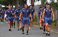 Adam Blair and team mates arrive at training.<br /> Vodafone Warriors training session. NRL Rugby League. Mt Smart Stadium, Auckland, New Zealand. Thursday 8 February 2018 &copy; Copyright Photo: Andrew Cornaga / www.photosport.nz