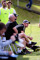 Hamilton coaches Ricki and Kale Herbert watch the ISPS Handa Premiership football match between Team Wellington and Hamilton Wanderers at David Farrington Park in Wellington, New Zealand on Sunday, 18 March 2018. Photo: Dave Lintott / lintottphoto.co.nz
