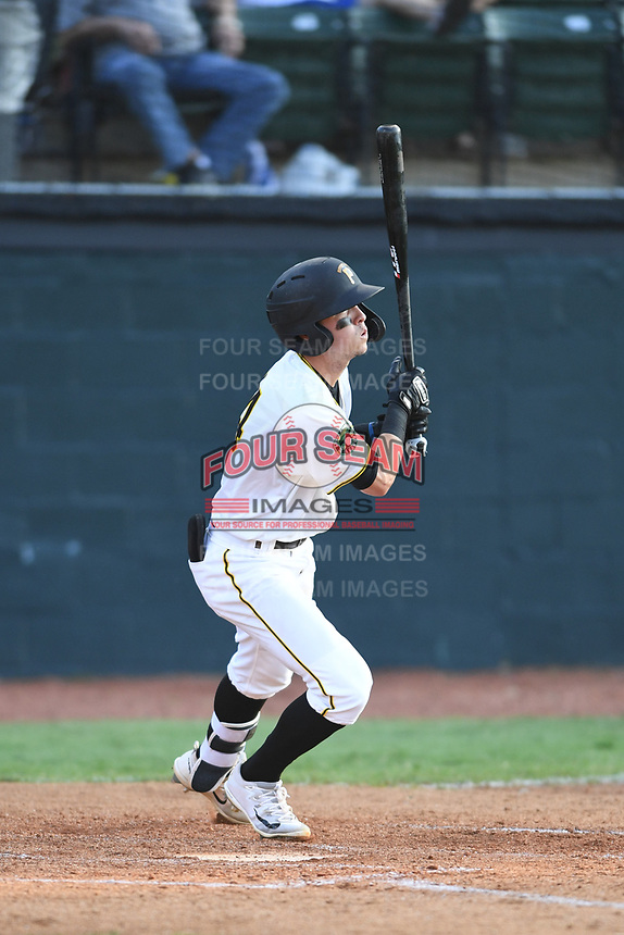Bristol Pirates Josh Bissonette (14) follows through on his swing against the Pulaski Yankees at Boyce Cox Field on July 8, 2019 in Bristol, Virginia. The Yankees defeated the Pirates 5-0. (Tracy Proffitt/Four Seam Images)