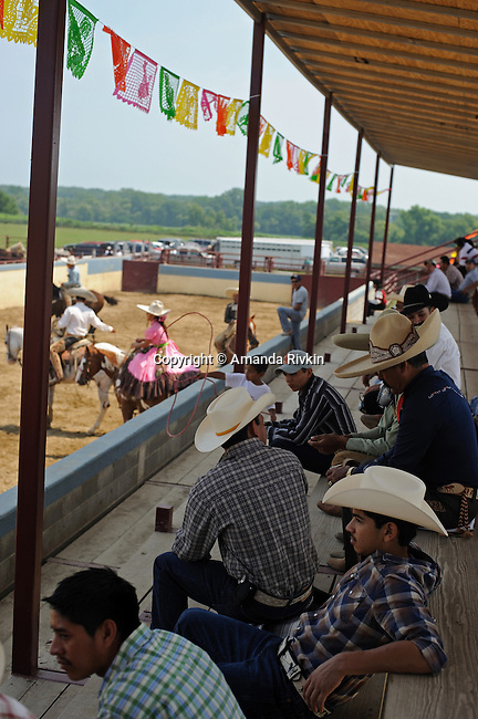 Spectators at the Mexican rodeo Charros del Norte in Lowell, Indiana on July 27, 2008.
