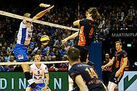 GRONINGEN - Volleybal , Lycurgus - Orion, finale playoff 3, seizoen 2018-2019, 01-05-2019 prima blok Lycurgus speler Dennis Borst