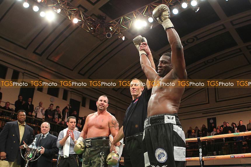 Michael Sprott of the UK defeats Jason Gavern of the USA - UK vs USA Prizefighter International Heavyweight Boxing at York Hall, Bethnal Green, London - 15/11/13 - MANDATORY CREDIT: Gavin Ellis/TGSPHOTO - Self billing applies where appropriate - 0845 094 6026 - contact@tgsphoto.co.uk - NO UNPAID USE