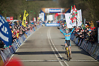 Wout Van Aert (BEL) overjoyed at becoming World Champion<br /> <br /> 2014 UCI cyclo-cross World Championships, Men U23