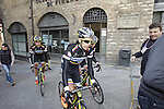 Colombia team riders head to sign on in San Gimignano before the start of the 2014 Strade Bianche race over the white dusty gravel roads of Tuscany, Italy. 8th March 2014.<br /> Picture: Eoin Clarke www.newsfile.ie