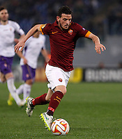 Calcio, Europa League: Ritorno degli ottavi di finale Roma vs Fiorentina. Roma, stadio Olimpico, 19 marzo 2015.<br /> Roma's Alessandro Florenzi in action during the Europa League round of 16 second leg football match between Roma and Fiorentina at Rome's Olympic stadium, 19 March 2015.<br /> UPDATE IMAGES PRESS/Isabella Bonotto