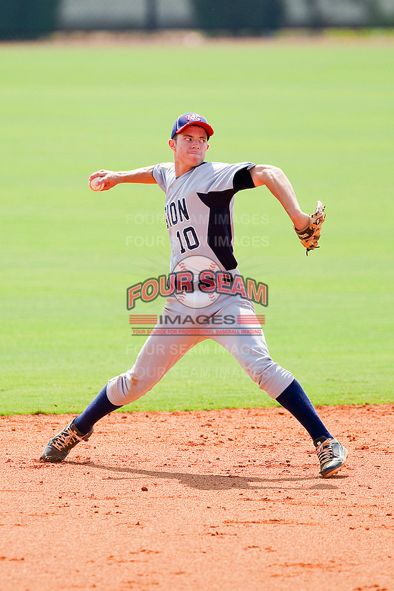 Shortstop Michael Meyers #10 of American Legion makes a throw to first base against NABF at the 2011 Tournament of Stars at the USA Baseball National Training Center on June 26, 2011 in Cary, North Carolina.  NABF defeated American Legion 5-0. (Brian Westerholt/Four Seam Images)