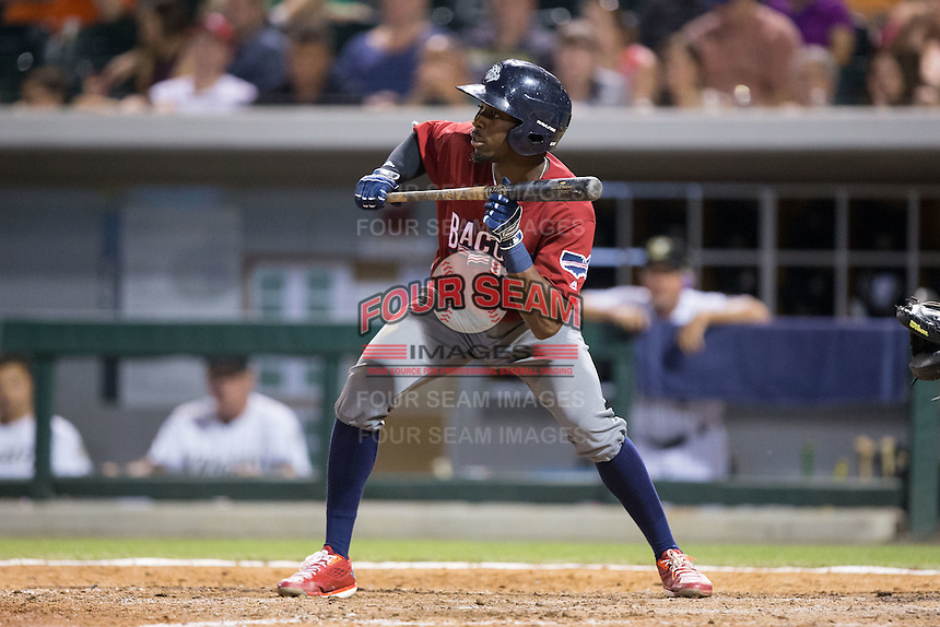 Darnell Sweeney (24) of the Lehigh Valley Iron Pigs squares to bunt against the Charlotte Knights at BB&T BallPark on June 3, 2016 in Charlotte, North Carolina.  The Iron Pigs defeated the Knights 6-4.  (Brian Westerholt/Four Seam Images)