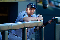 Tampa Tarpons designated hitter Adam Lind (23) in the dugout during a game against the Bradenton Marauders on April 25, 2018 at LECOM Park in Bradenton, Florida.  Tampa defeated Bradenton 7-3.  (Mike Janes/Four Seam Images)